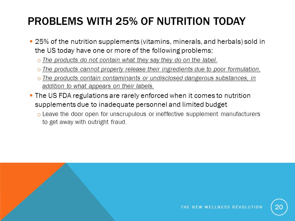 Problems with 25% of nutrition today