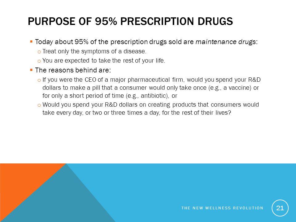 Purpose of 95% prescription drugs