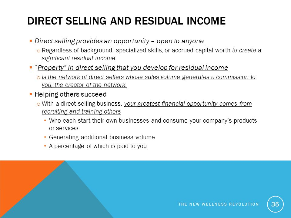 Direct selling and residual income