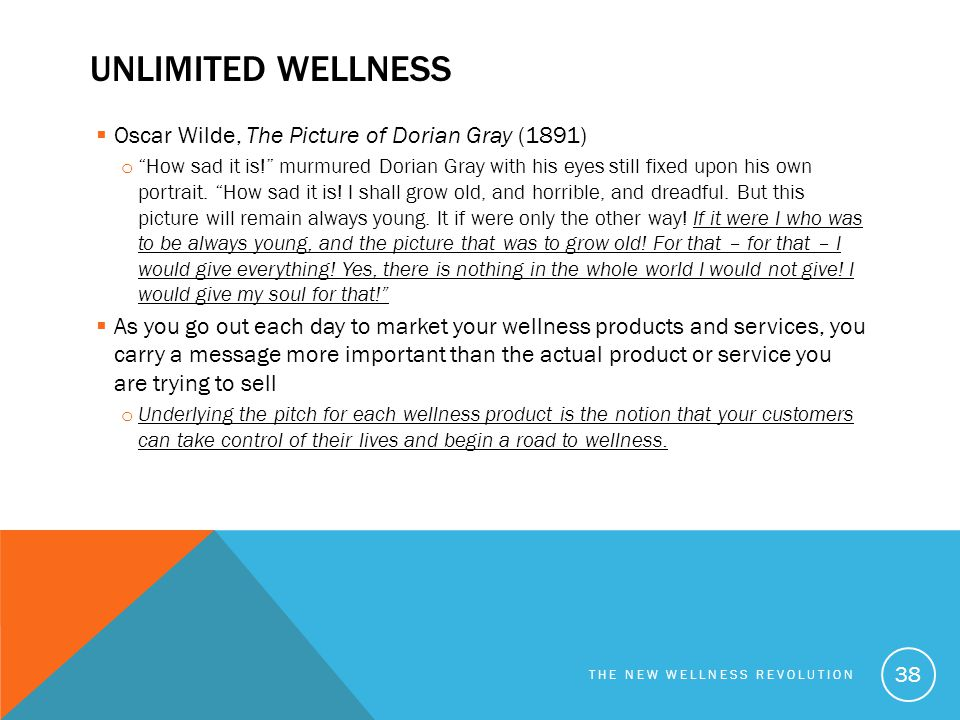 Unlimited wellness Oscar Wilde, The Picture of Dorian Gray (1891)