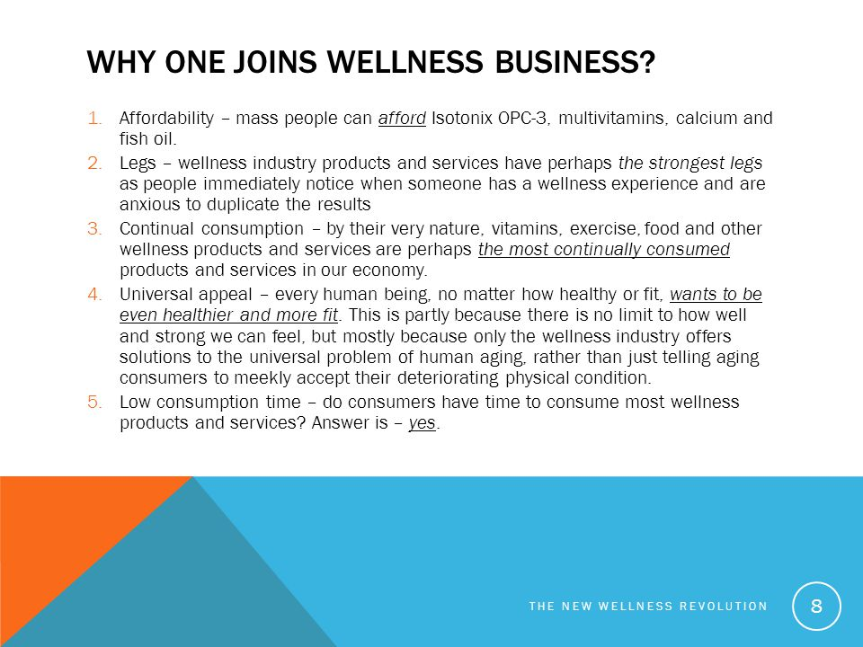 Why one joins wellness business