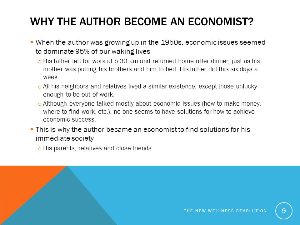 Why the author become an economist