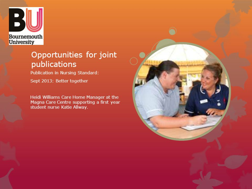 Opportunities for joint publications