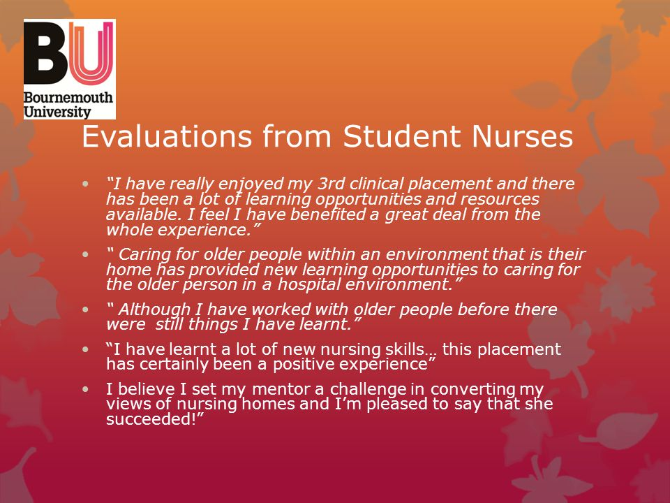 Evaluations from Student Nurses