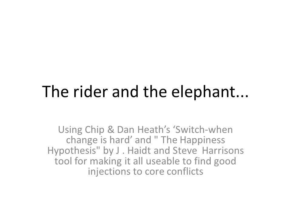 The rider and the elephant...