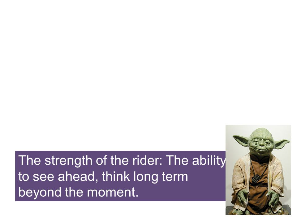 The strength of the rider: The ability to see ahead, think long term beyond the moment.