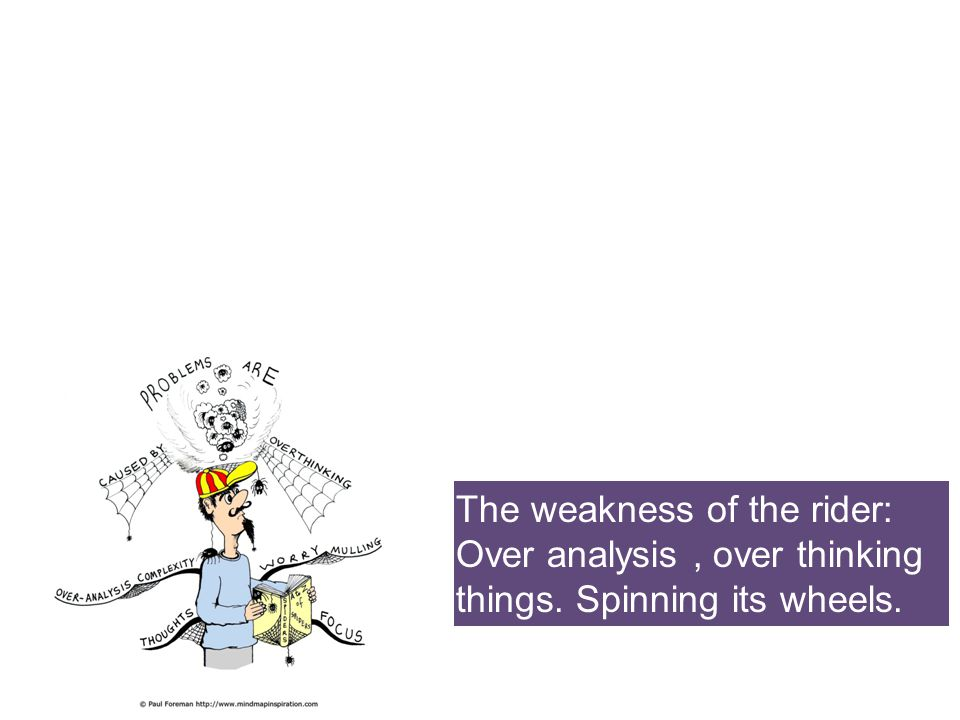 The weakness of the rider: Over analysis , over thinking things