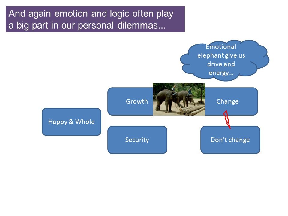 Emotional elephant give us drive and energy...