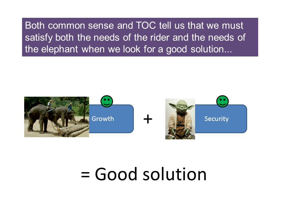 Both common sense and TOC tell us that we must satisfy both the needs of the rider and the needs of the elephant when we look for a good solution...