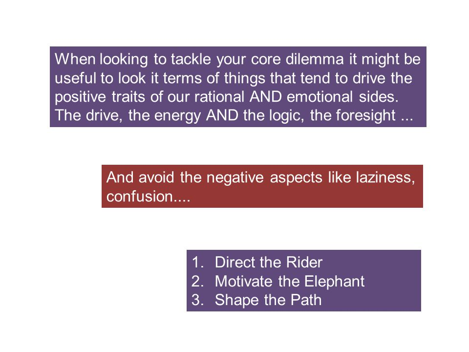 When looking to tackle your core dilemma it might be useful to look it terms of things that tend to drive the positive traits of our rational AND emotional sides. The drive, the energy AND the logic, the foresight ...