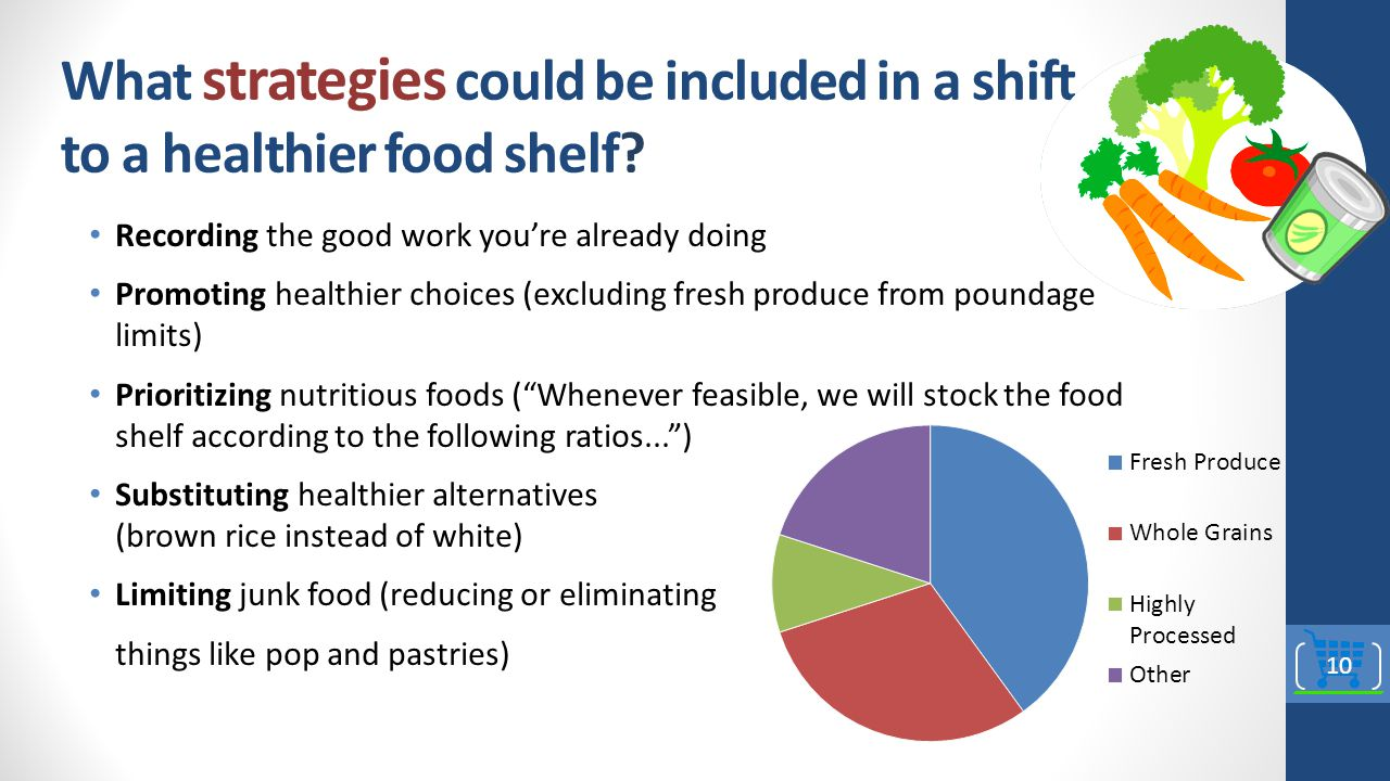 What strategies could be included in a shift to a healthier food shelf