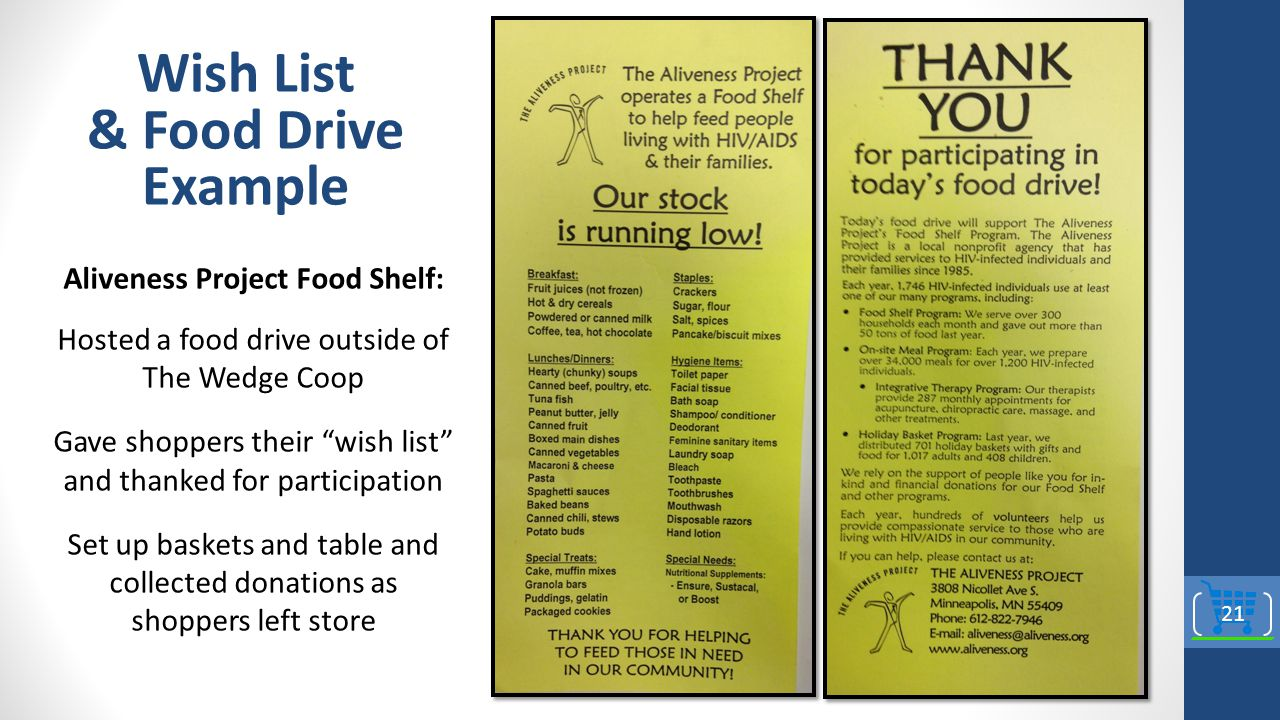 Aliveness Project Food Shelf: