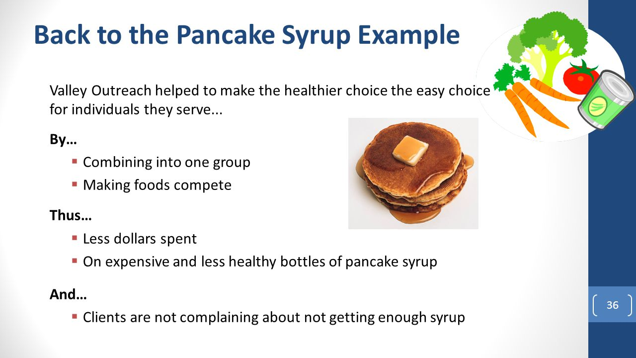 Back to the Pancake Syrup Example