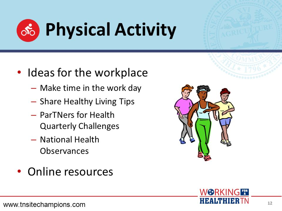 Physical Activity Ideas for the workplace Online resources
