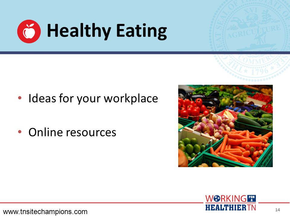 Healthy Eating Ideas for your workplace Online resources