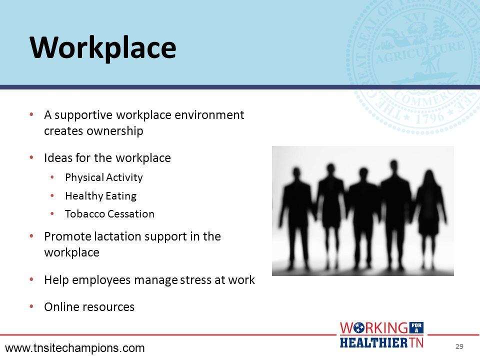 Workplace A supportive workplace environment creates ownership