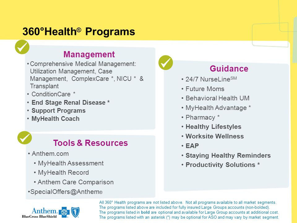 360°Health® Programs Management Guidance Tools & Resources