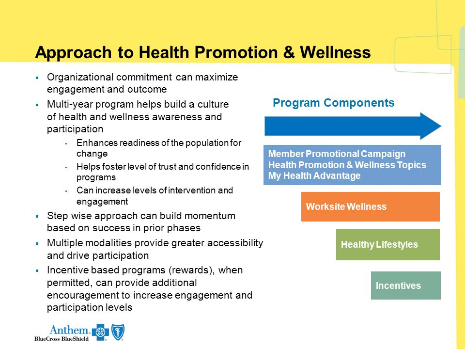 Approach to Health Promotion & Wellness