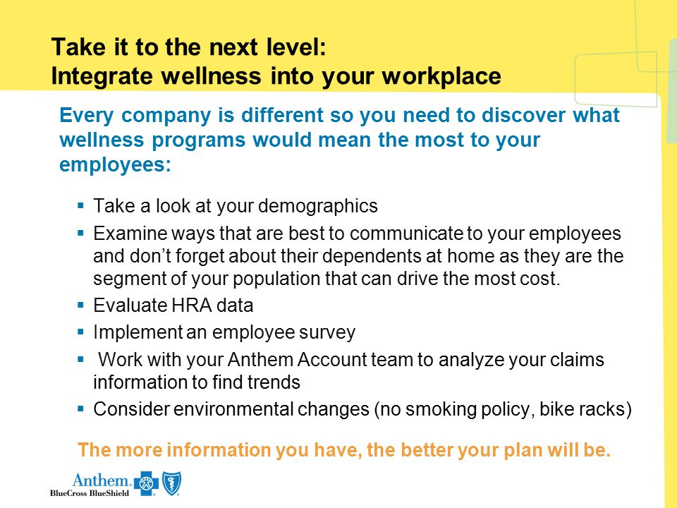 Take it to the next level: Integrate wellness into your workplace