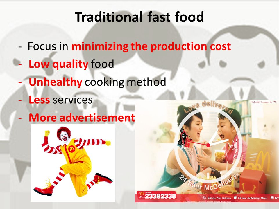 Traditional fast food - Focus in minimizing the production cost