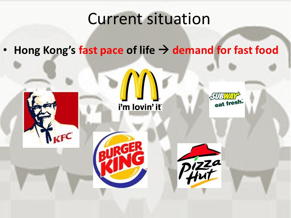 Current situation Hong Kong's fast pace of life  demand for fast food