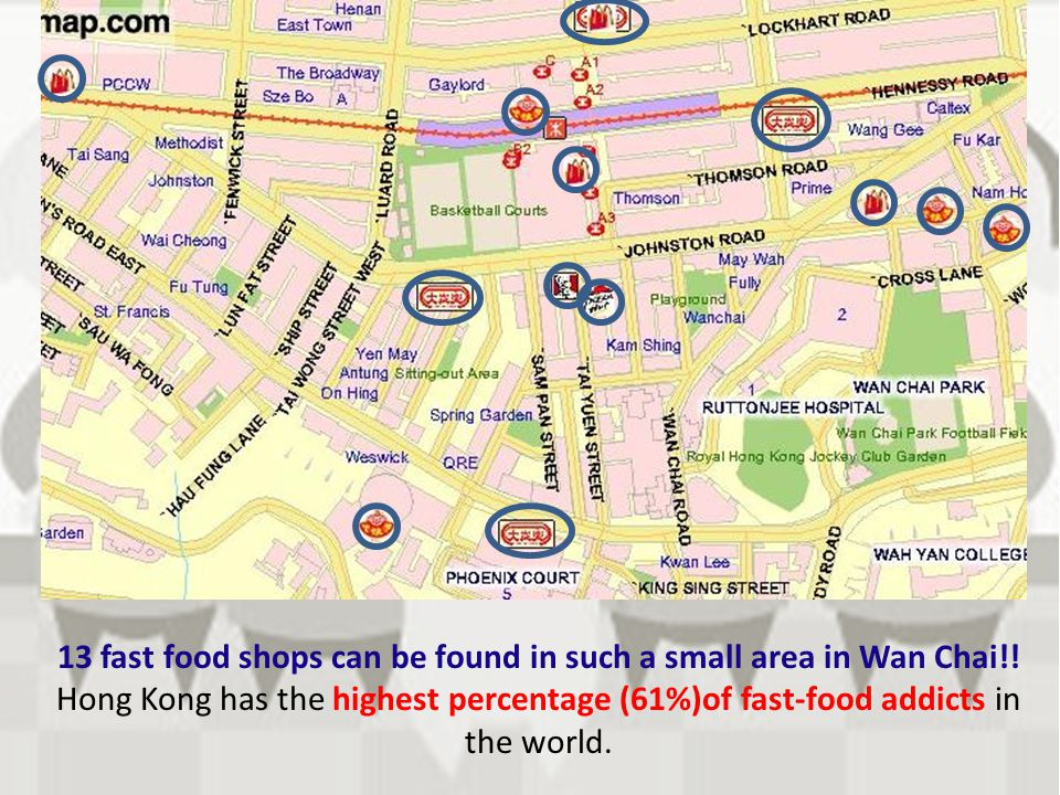 13 fast food shops can be found in such a small area in Wan Chai!!