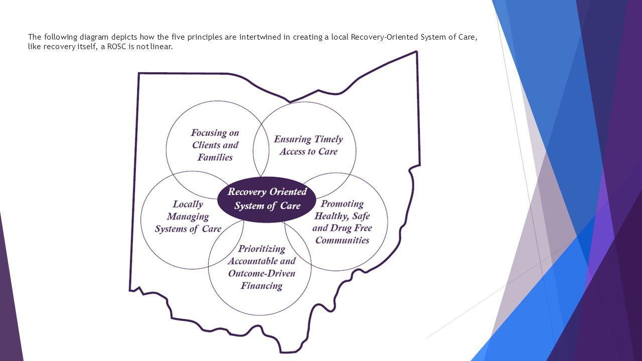The following diagram depicts how the five principles are intertwined in creating a local Recovery-Oriented System of Care, like recovery itself, a ROSC is not linear.