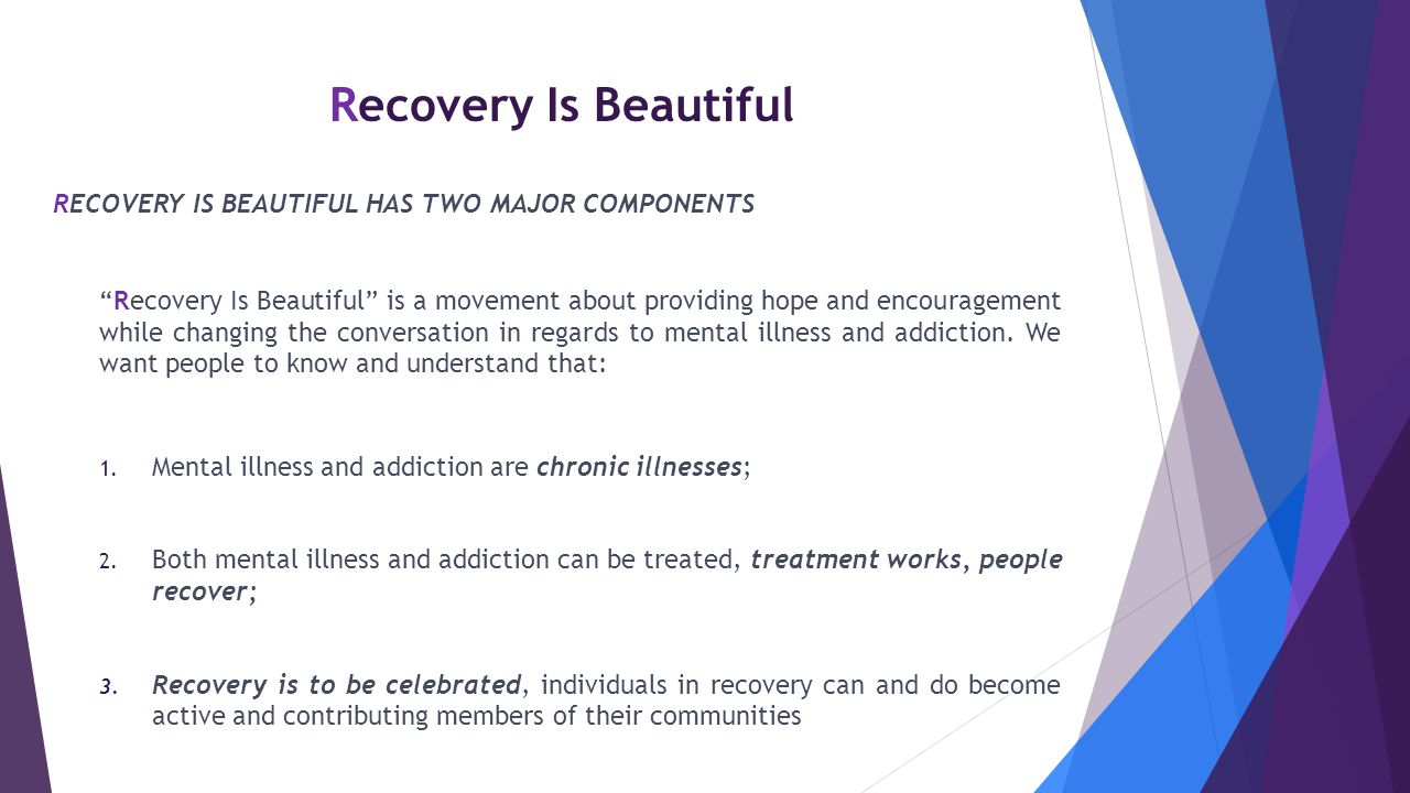 Recovery Is Beautiful Recovery Is Beautiful has two major components