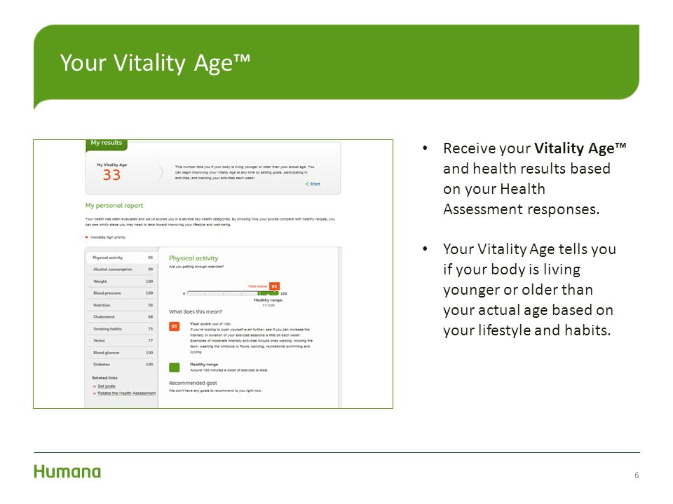 Your Vitality Age™ Receive your Vitality Age™ and health results based on your Health Assessment responses.