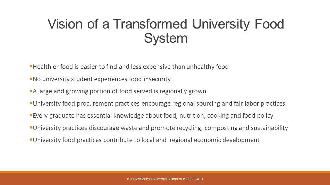 Vision of a Transformed University Food System