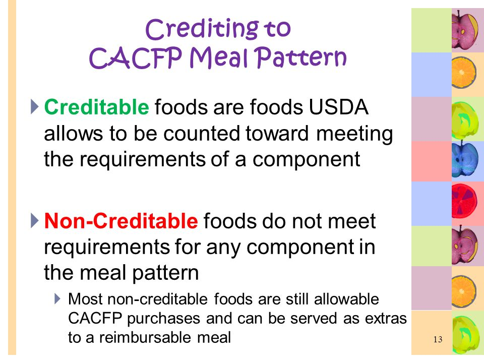Crediting to CACFP Meal Pattern