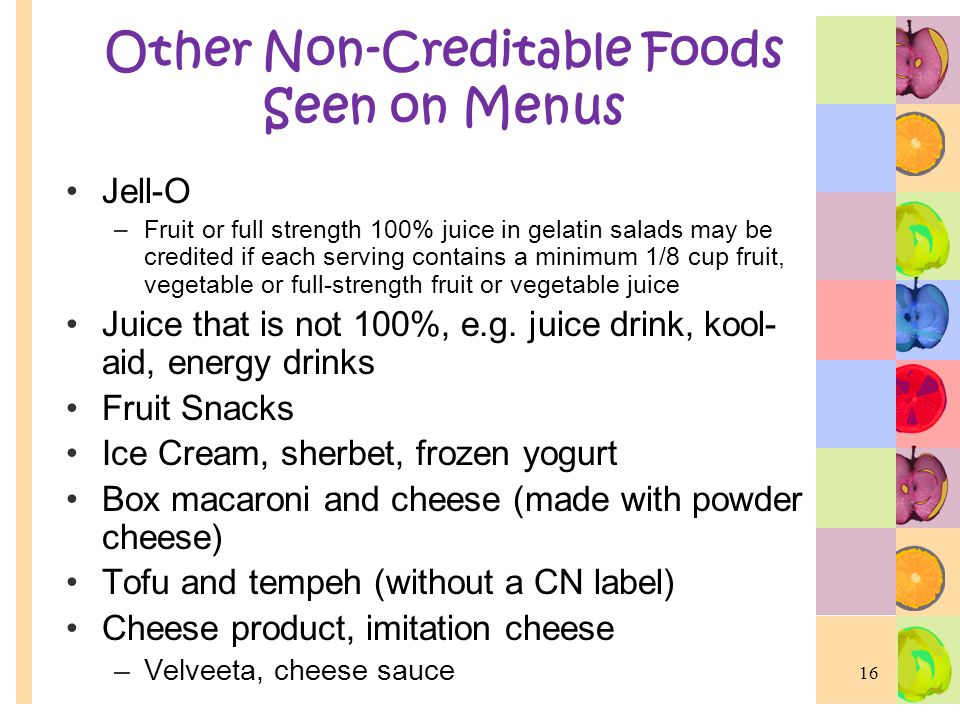 Other Non-Creditable Foods Seen on Menus
