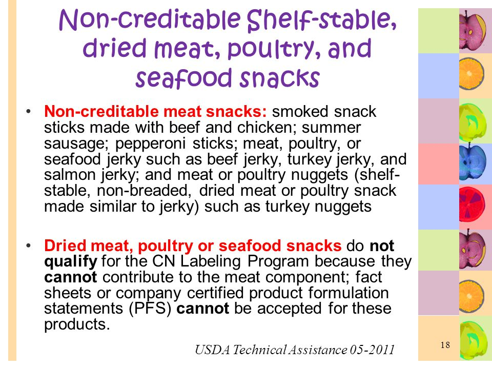 Non-creditable Shelf-stable, dried meat, poultry, and seafood snacks