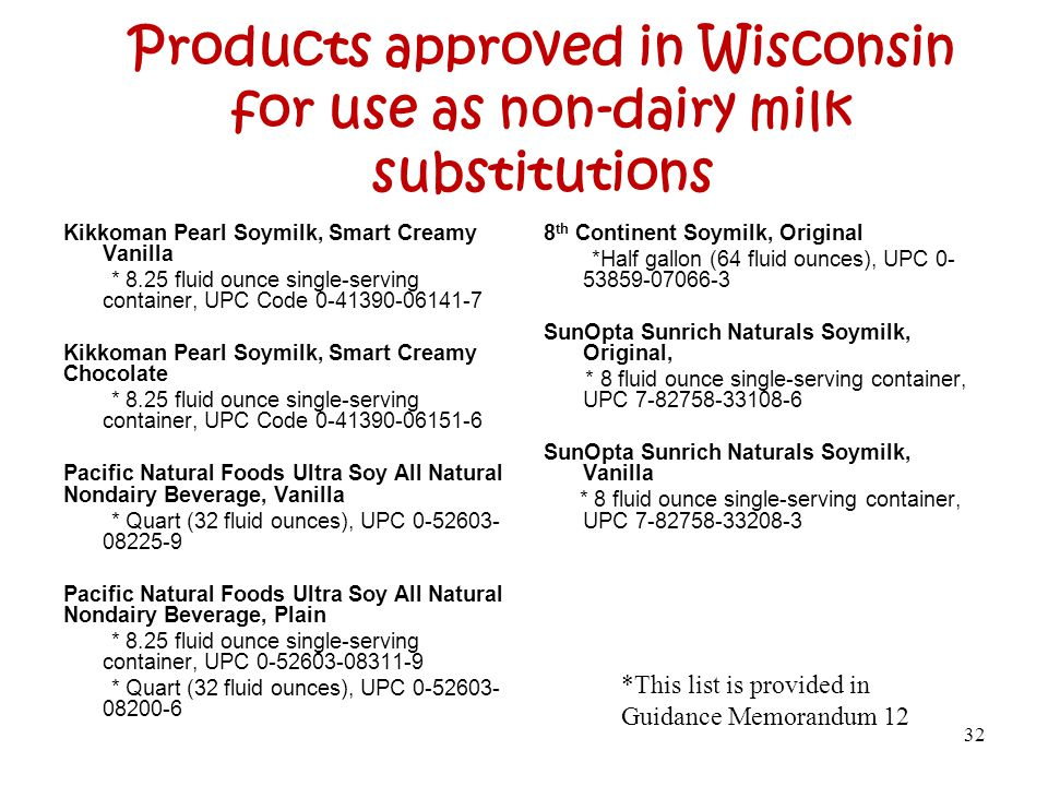 Products approved in Wisconsin for use as non-dairy milk substitutions