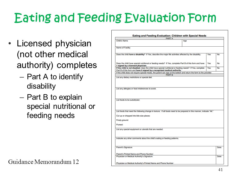 Eating and Feeding Evaluation Form