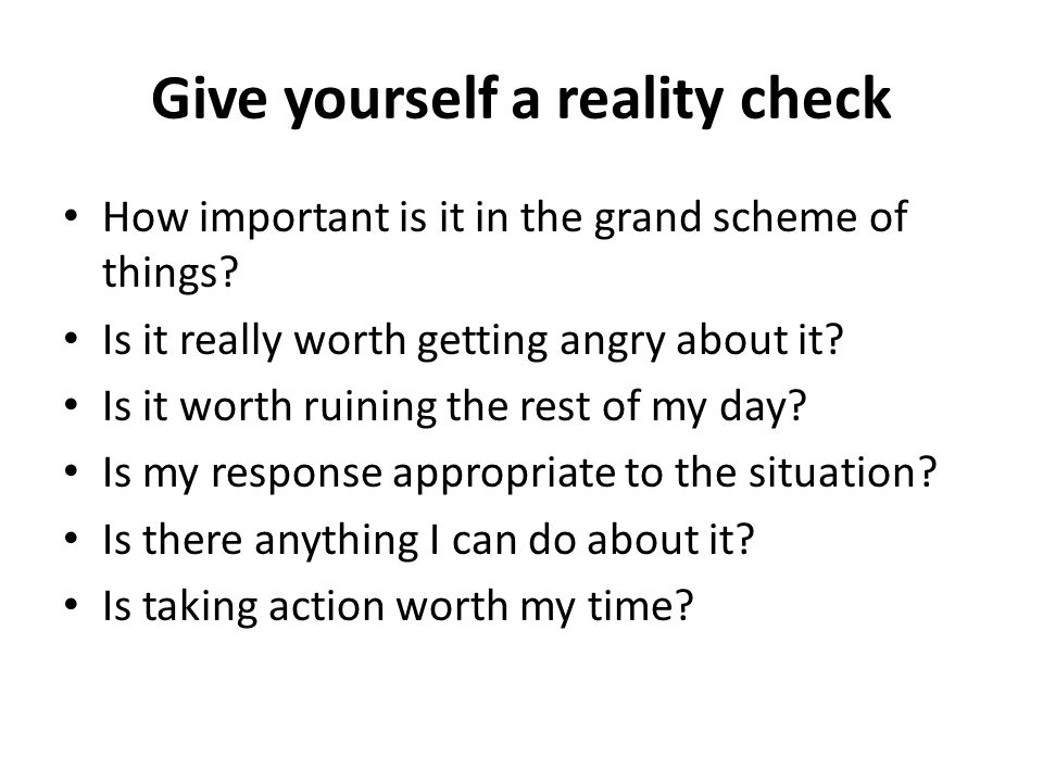 Give yourself a reality check