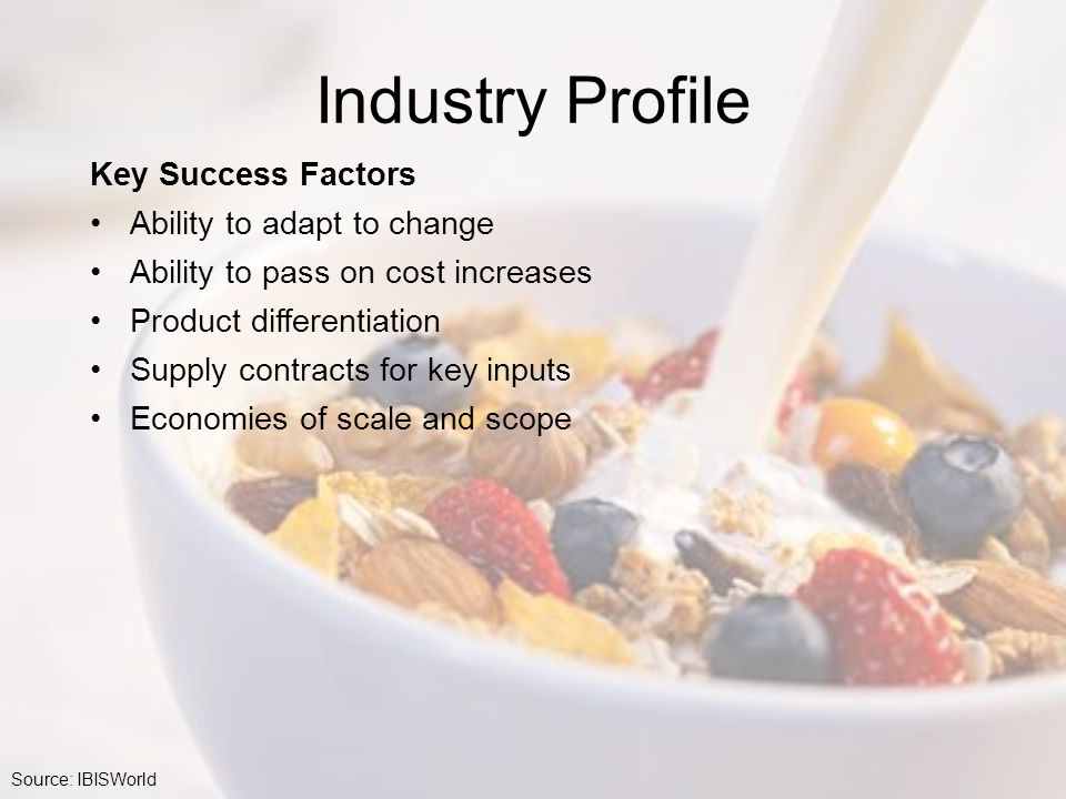 Industry Profile Key Success Factors Ability to adapt to change