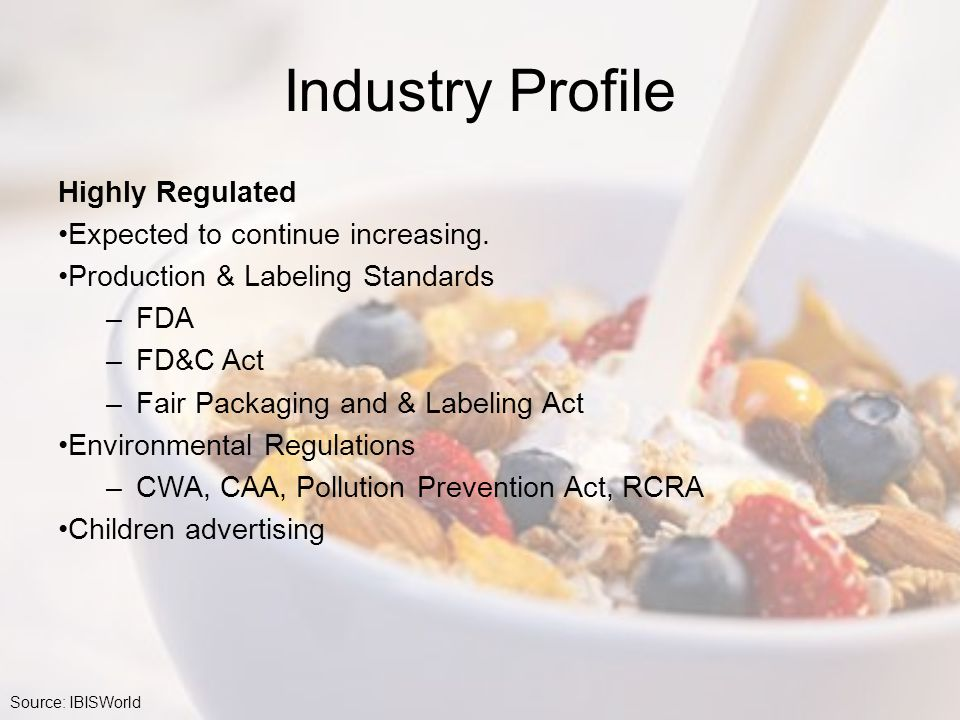 Industry Profile Highly Regulated Expected to continue increasing.