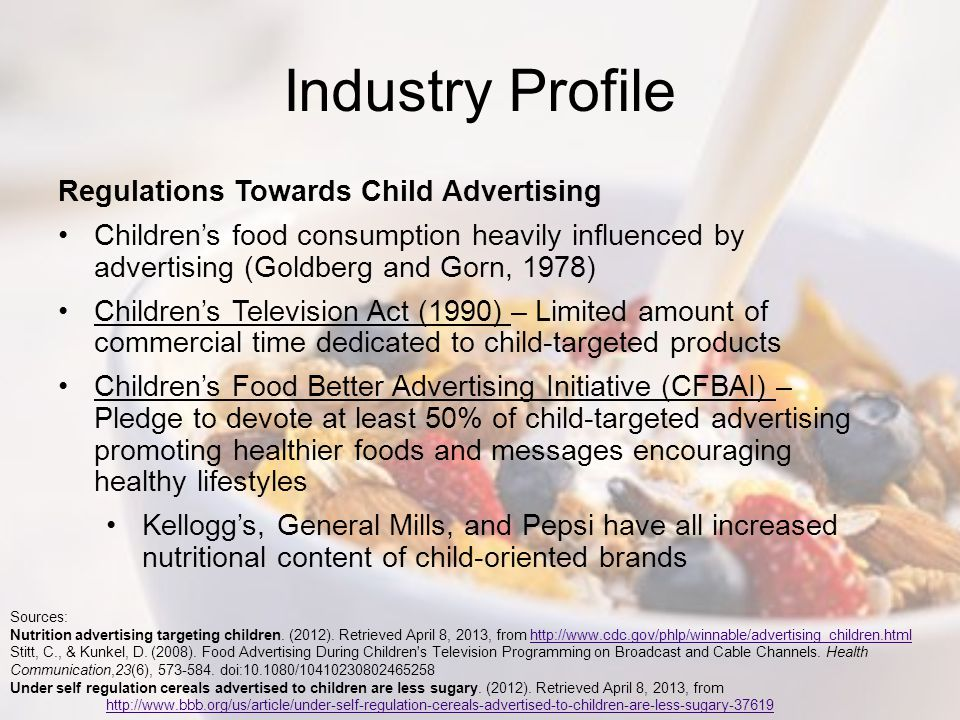 Industry Profile Regulations Towards Child Advertising