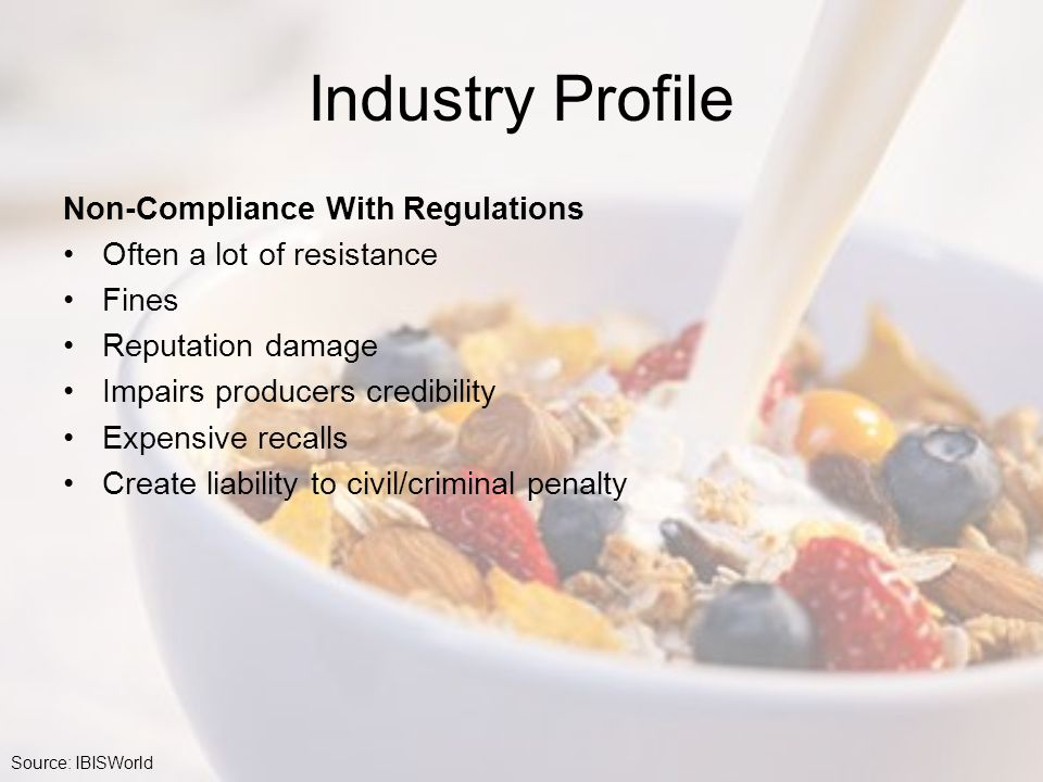 Industry Profile Non-Compliance With Regulations