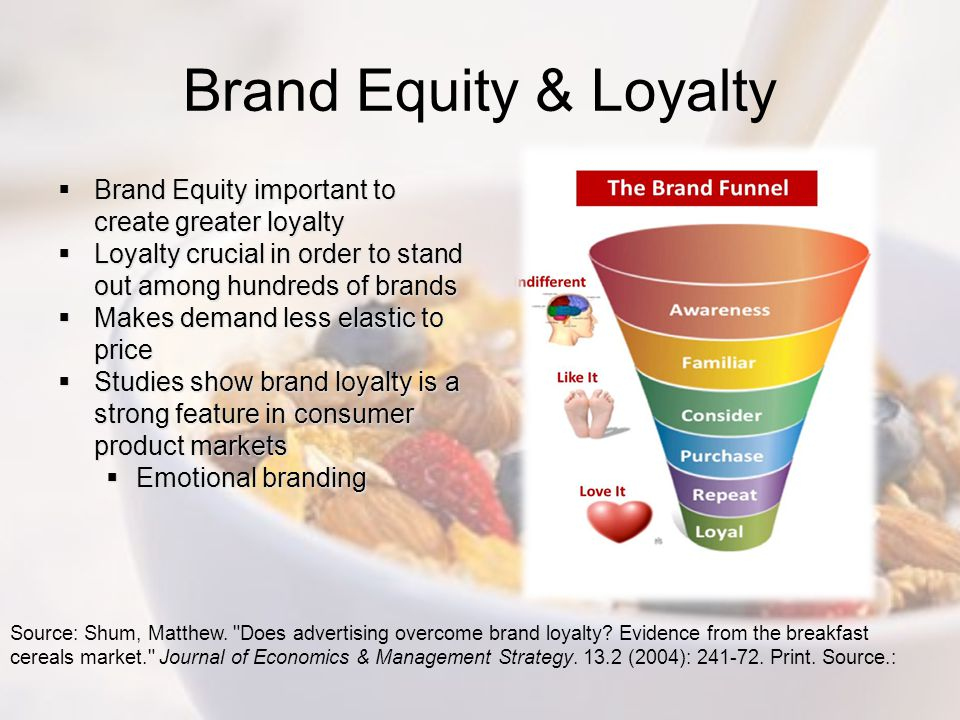 Brand Equity & Loyalty Brand Equity important to create greater loyalty. Loyalty crucial in order to stand out among hundreds of brands.