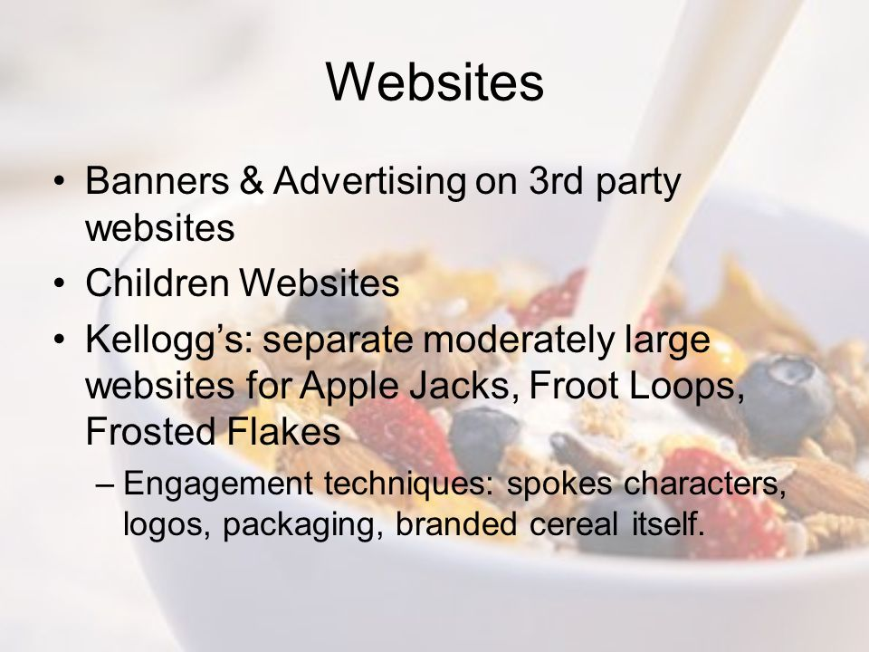 Websites Banners & Advertising on 3rd party websites Children Websites