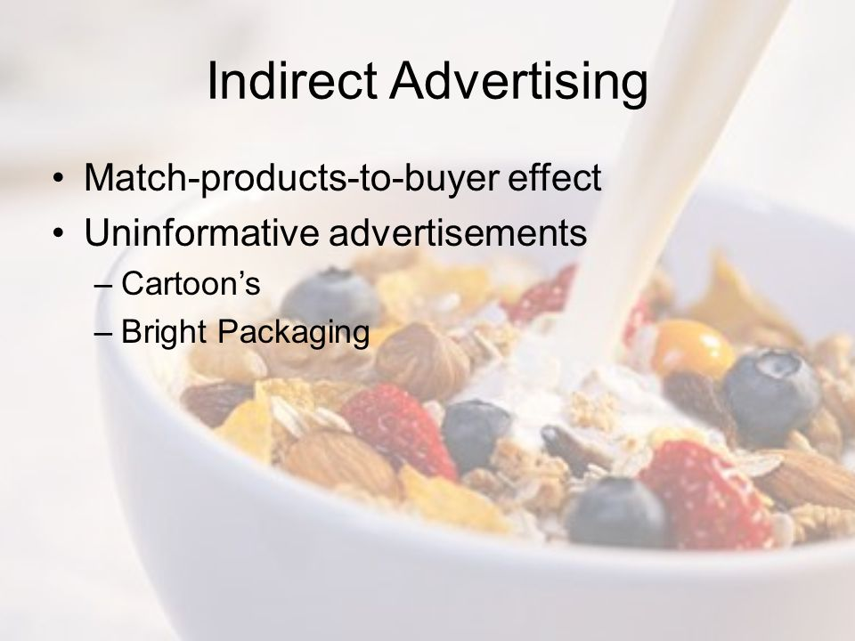 Indirect Advertising Match-products-to-buyer effect