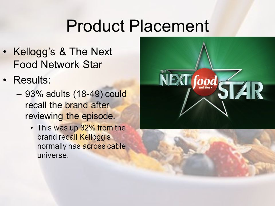 Product Placement Kellogg's & The Next Food Network Star Results: