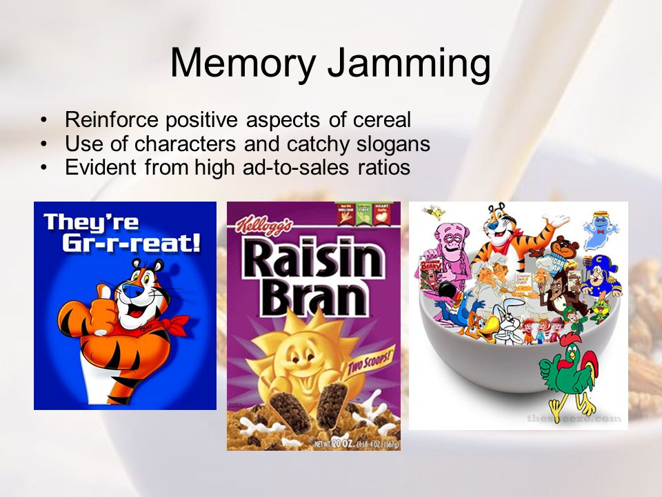 Memory Jamming Reinforce positive aspects of cereal