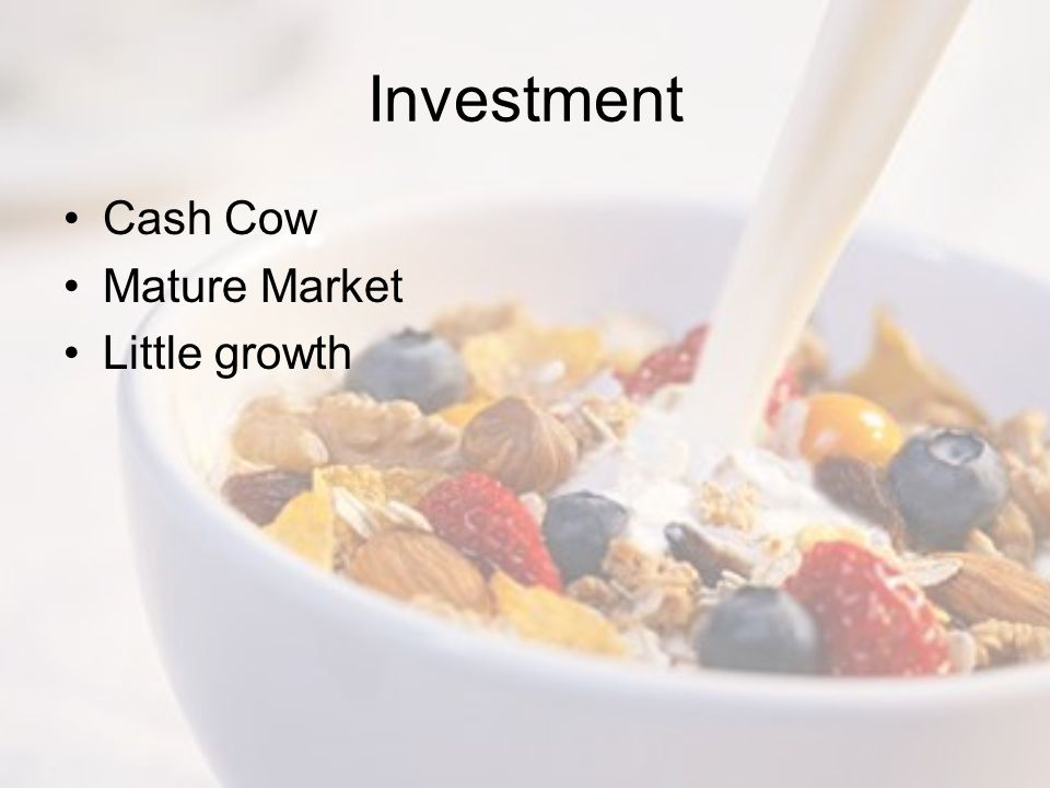 Investment Cash Cow Mature Market Little growth