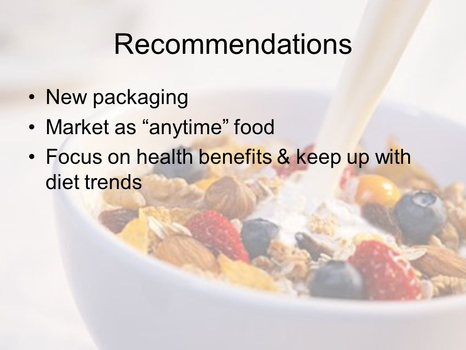 Recommendations New packaging Market as anytime food