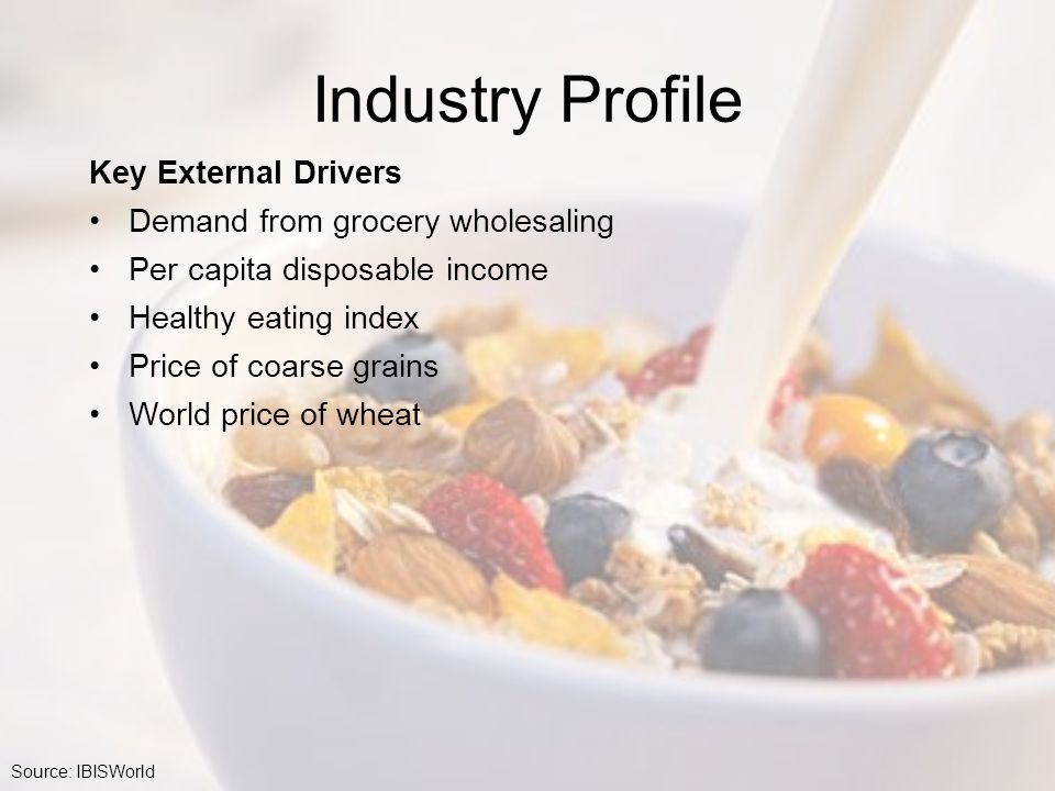 Industry Profile Key External Drivers Demand from grocery wholesaling