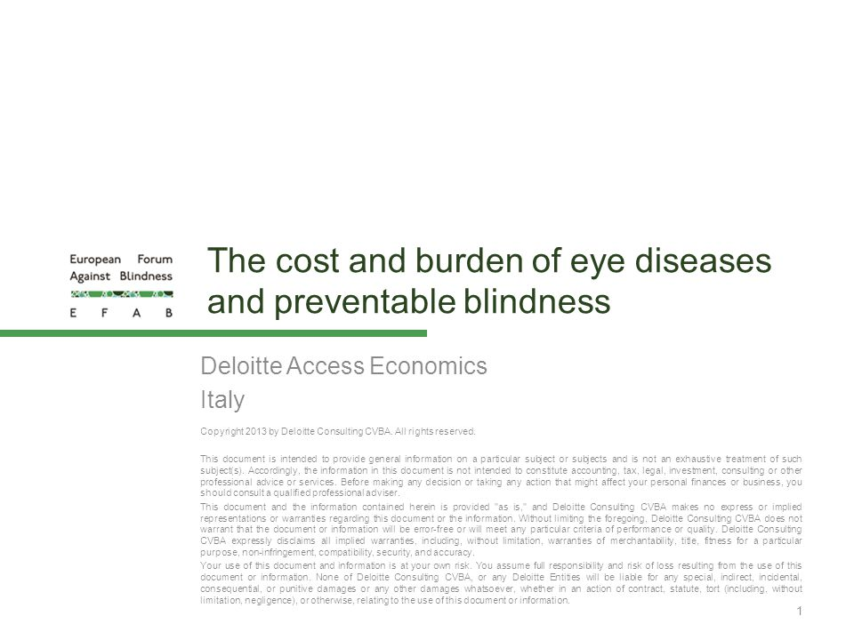 The cost and burden of eye diseases and preventable blindness