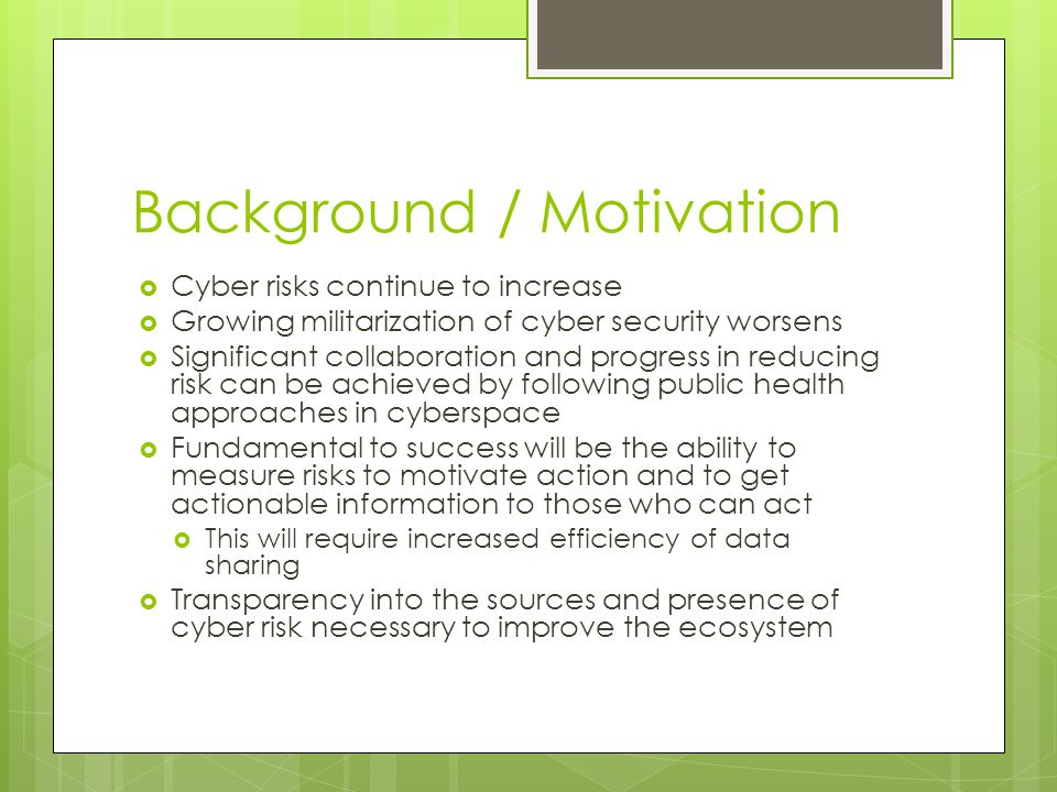 Background / Motivation